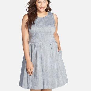 Halogen Sleeveless Linen Fit & Flare Dress 16 w